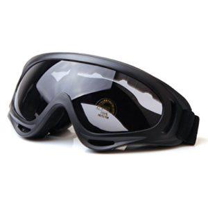 TININNA Professionnel Unisexe Masque et Lunettes de Moto Protection Des Yeux Anti-brouillard Anti- Vent Anti-Sable Noir