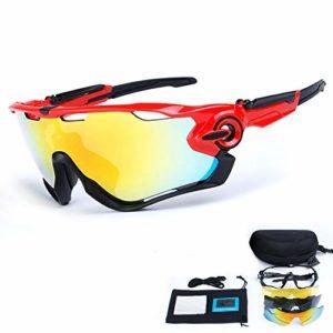 Toptetn polarisées Sports Lunettes de soleil protection UV400Lunettes de cyclisme avec 5verres interchangeables pour le cyclisme, Baseball, pêche, ski, course à pied, rouge/noir