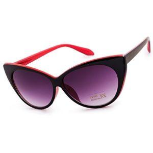 Unisex Femme Lunettes de soleil Yeux de Chat Sunglasses Cat Eyes Fashion Cat Eyed Eyeglass MFAZ Morefaz Ltd (Red Black)