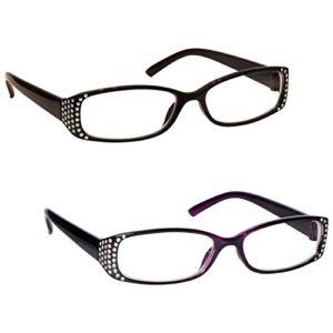 UV Reader Lunettes de Lecture Noir / Noir Pourpre Diamonte Style Lecteurs Valeur Set de 2 Femmes Dames RR93-15 +1,50