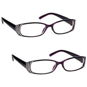 UV Reader Lunettes de Lecture Noir/Violet Diamonte Valeur Pack 2 Designer Style Femmes Dames UVR2093P +2,50