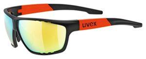 Uvex 5320062316 Lunettes de Cyclisme Mixte Adulte, Noir Mat/Orange, Taille Unique
