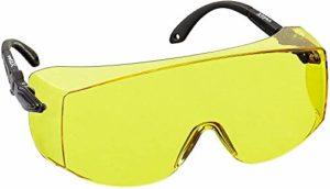 voltX 'OVERSPECS' Surlunettes de sécurité industrielle Overspecs, certifiées CE EN166F (à verres jaunes) – branches réglables individuellement – anticondensation, résistantes aux rayures, et protégées contre les rayons UV400 – Safety Glasses