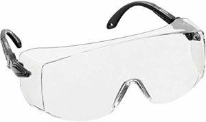 voltX 'OVERSPECS' Surlunettes de sécurité industrielle Overspecs, certifiées CE EN166F (à verres transparents) – branches réglables individuellement – anticondensation, résistantes aux rayures, et protégées contre les rayons UV380 – Safety Glasses