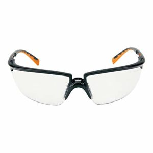 3M solus3so Lunettes de protection, chiffon microfibre inclus AS/AF/UV, PC, bronze de verres teintés, cadre noir/orange