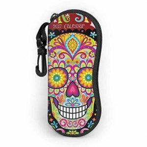 AEMAPE Jour mexicain des morts Art Personnalité des hommes et des femmes Mode durable Étui à lunettes portable Étui à lunettes de soleil Étui à lunettes Zipper Boîte à lunettes rigide avec crochet