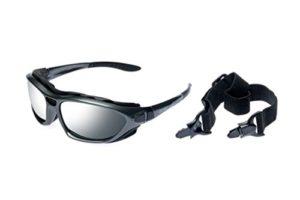 Alpland Lunettes de montagne Glacier Lunettes pour sports de ski Kitesurf de cyclisme avec bande et sangle interchangeable–Verre fumée argentée Miroir inkl. Softbag