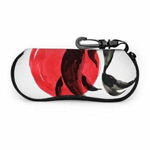 Art Koi Encre Peinture Squid Floral Sports Lunettes de Soleil Cas Cas Pour Hommes lunettes de Soleil Lumière Portable Néoprène Zipper Étui Souple Unique Lunettes Cas