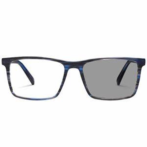 Carfia rectangulaire classique hommes lunettes d'ordinateur bleu lumière bloquant les lunettes de décoloration pour la lecture PC Smartphone en plein air ombre