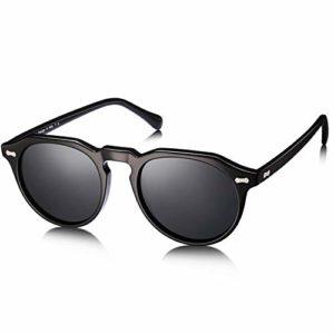 Carfia Retro Ronde Lunettes de Soleil Femme Polarisées 100% UV400 Protection Conduite Lunettes (monture noir, verres gris)
