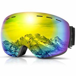 DADA-PRO Lunettes de ski, Hommes Femmes Lunettes de Ski Adultes Sur Lunettes OTG Anti-buée Sans Cadre Pour Snowboard Jet Neige Protection UV Lunettes de Soleil (Or (VLT 18,4%))