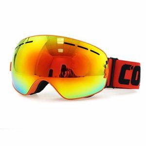 DOOK Lunettes de Ski Masque de Snowboard Frameless Hommes et Femmes-Anti-UV400, Anti-Buée, Coupe-Vent, Lunettes de Protection avec Grande Lentille OTG Sphérique,6