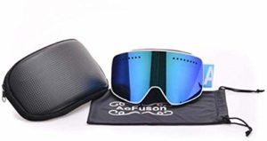 FANPING Anti-buée double miroir magnétique lunettes de ski professionnel lunettes de ski hommes et femmes ski snowboard lunets-BLANC_with_case
