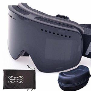 FANPING Anti-buée double miroir magnétique lunettes de ski professionnel lunettes de ski hommes et femmes ski snowboard lunettes-BLACK_with_case