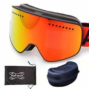 FANPING Anti-buée double miroir magnétique lunettes de ski professionnel lunettes de ski hommes et femmes ski snowboard lunettes-RED_with_case