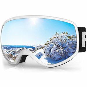 findway Masque de Ski Enfant 3 à 8 Ans – Lunettes de Ski Enfant Masuqe Ski pour Garçon et Fille Anti-UV Antibuée Compatible avec Casque pour Ski Autres Sports (Lentille Gris/Argent (VLT 21%))