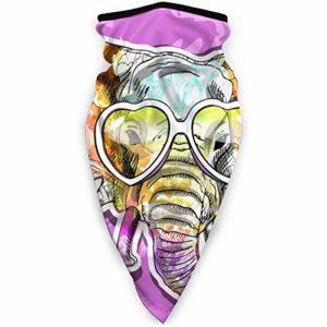 JONINOT Mignon Animl éléphant Floral avec des lunettes de coeur, demi-masque violet cagoule femmes hommes masque de Ski Bandana pour le cyclisme