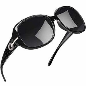 Joopin Lunette de Soleil Femme Polarisée – Lunettes Surdimensionnées UV400 à la Mode et Lunette de Soleil Classique Noir Grand Cadre