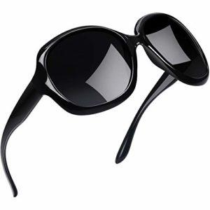 Joopin Lunette de Soleil Femme Polarisée – Lunettes Surdimensionnées UV400 à la Mode et Noir Lunette de Soleil Classique Grand Cadre