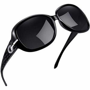 Joopin Surdimensionné Lunettes de soleil pour Femme – Protection UV Mode Polarisées Lunettes de soleil Mesdames U9045 (sombre)