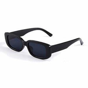 Long Keeper Lunettes de Soleil Rectangulaires Protection UV400 Lunettes de Conduite Rétro pour les Femmes (Noir)