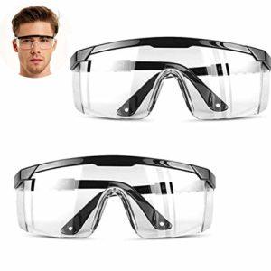 Lot de 2 lunettes de sécurité anti-buée, anti-poussière, rayures, brouillard, vent, lunettes de sécurité pour le bricolage, le soudage, la construction.