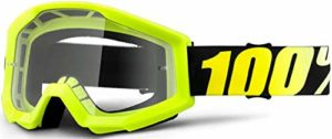 Lunettes 100 % Strata transparentes – Jaune fluo/100% lunettes de protection oculaire Enduro VTT VTT VTT Dirt Jump Cyclisme Vélo Motocross MotoX MX Moto Ski Unisexe Adulte