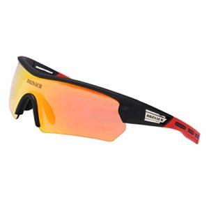 Lunettes de soleil polarisées Cyclisme Pêche Golf Sports de plein air Lunettes de soleil mixtes TR90 Monture incassable (Jaune)
