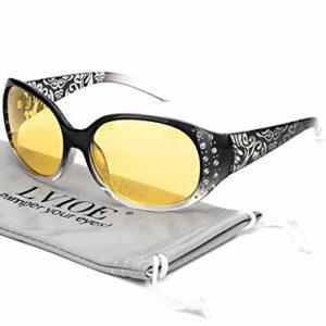 LVIOE Lunettes de conduite de nuit avec verres jaunes polarisés et anti-reflets pour femmes Lunettes de vision nocturne Protec(Cadre enveloppant à dégradé noir/lentille anti-reflets jaune polarisée)