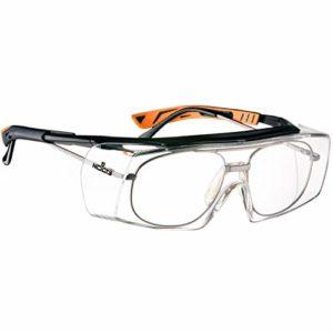 NoCry Over-Spec Lunettes de sécurité avec verres rayures enveloppante, avec certification ANSI Z87et OSHA et branches réglables et protection contre les rayons UV 400, Noir et Orange
