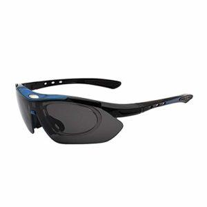 NSGJUYT des Lunettes Hommes Femmes UV400 Course randonnée à vélo Lunettes de Sport Anti Impact VTT Vélo VTT extérieur Route Lunettes Vélo (Color : Black Blue)