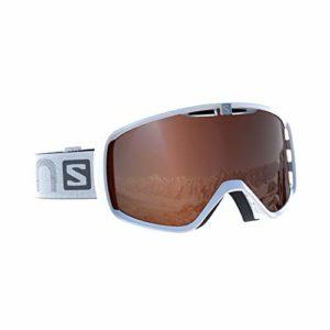 Salomon Unisexe Masque de Ski, pour porteurs de Lunettes, Temps Variable, Écran Tonic Orange avec Effet Flash (Interchangeable), Système Airflow, AKSIUM Access, Blanc, L39082800