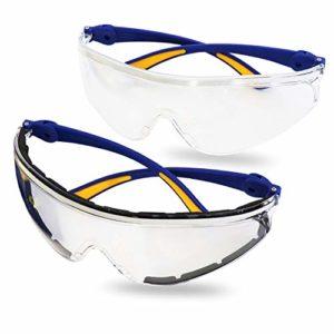S&R Lunettes de Protection et sécurité au Travail, Bricolage, Vélo. Verres en polycarbonate transparent. Anti rayures et anti-UV – 2 pièces