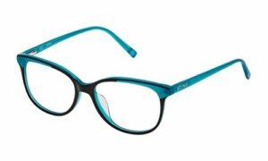 STING VST117520AHV Lunettes de Soleil, Shiny Black Top+Turquoise, 52/16/140 Femme