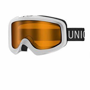 Unigear Lunettes de Ski, Lunettes de Snowboard Cylindrique Anti-buée pour Adultes, Ski Goggles Anti-UV400 Système de Ventilation Adapté pour Les Activités Ski Cyclisme Moto (Blanc-Orange)