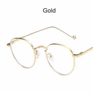 xzczxc Vintage Rounds Anti-Blue Light Computer Glasses pour Femmes Hommes Optique Métal Cadre Or