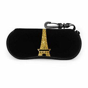 AEMAPE Icône brillant tour Eiffel or étuis pour lunettes de soleil pour hommes étui à lunettes sac lumière Portable néoprène fermeture éclair étui souple lunettes de soleil pochette souple