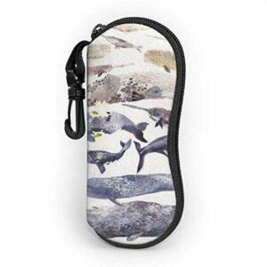 Ahdyr Grande baleine de mammifères Personnalité des hommes et des femmes Mode Durable Étui à lunettes portable 3.1 X 6.1In Étui à lunettes de soleil étanche Zipper Hard Shell