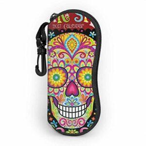 Ahdyr Mexican Day of The Dead Art Personnalité des hommes et des femmes Mode Durable Étui à lunettes portable 3.1 X 6.1In Étui à lunettes de soleil étanche Zipper Hard Shell
