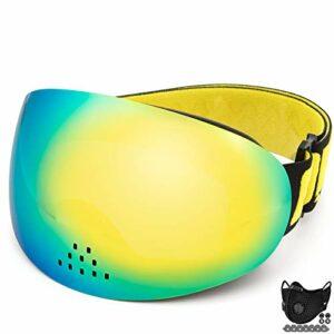 AOUVIK Lunettes de Ski Professionnelles, Double Couche Protection UV400 Lunettes de Ski Coupe-Vent nasales antibuée, Lunettes de Snowboard Anti-buée,Jaune