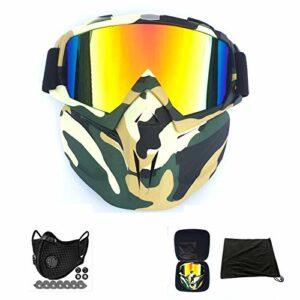 AOUVIK Lunettes de Ski Snowboard pour Hommes, Lunettes de Moto de Course de Motocross, Lunettes de Soleil de Masque de Ski de Sports de Plein air,A