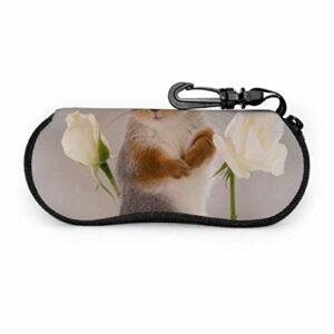 Bel écureuil Adorable Animal hommes étui à lunettes étui à lunettes coloré lumière Portable néoprène fermeture éclair étui souple étui à lunettes coloré