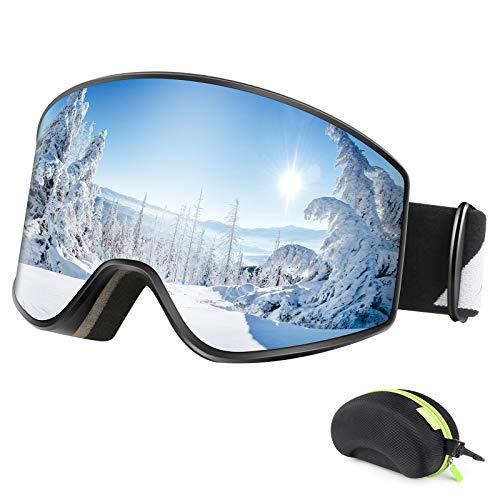 Bfull Lunettes de Ski, Anti-buée et UV400 Masque de Ski avec Bouton de Verrouillage, Résistant aux Chocs et Compatible avec Un Casque OTG Lunettes de Ski de Snowboard pour Hommes Femmes Jeunes