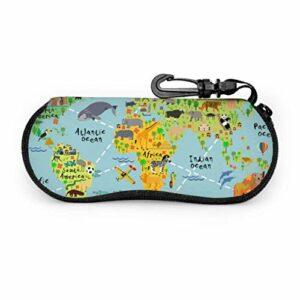 Carte du monde Animal femmes étui à lunettes de soleil filles étui à lunettes Portable néoprène fermeture éclair étui à lunettes léger