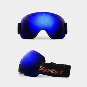 Des lunettes de ski BDwantan Bleu Ultraléger Rimless Anti-brouillard Anti-tempête De Sable Masque De Ski En Plein Air Sports D'hiver Grand Sphérique Hommes Femmes Lunettes Équitation Alpinisme Neige C