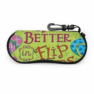 Drôle Flip Flop été plage fleurs étuis à lunettes pour femmes enfants étui à lunettes lumière Portable néoprène fermeture éclair étui souple filles étuis à lunettes
