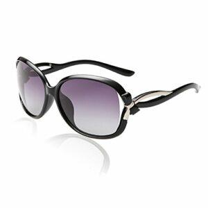 Duco Lunettes de Soleil polarisées pour Femmes 100% Protection UV – 2229 (Cadre noir Objectif gris)