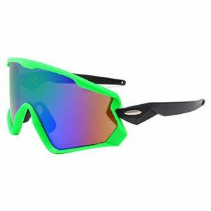 EVFIT Verres de Cyclisme de Sport Lunettes de Soleil Coupe-Vent for Hommes Lunettes de Sport Cyclistes Lunettes de Soleil polarisées colorées (Color : Green Frame+Rainbow Lens, Size : One Size)