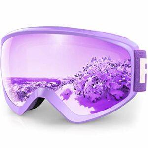 findway Masque de Ski Protection pour Enfant 5 à 16 Ans Lunette Ski Masque Ski OTG de Garçon ou Fille Anti-UV Antibuée Compatible avec Casque pour Ski Snowboard Autres Sports Hiver