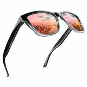 GQUEEN Lunettes de soleil polarisées Femmes Classic Unisix Retro lunettes MSO7